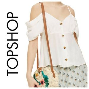 Topshop Volume Sleeve Camisole Bardot Blouse Top